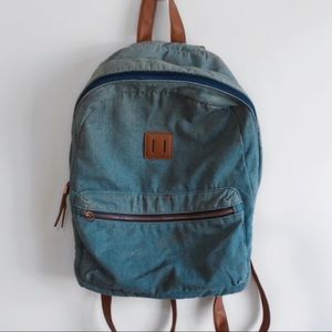 Blue and Tan Zipped Back Pack